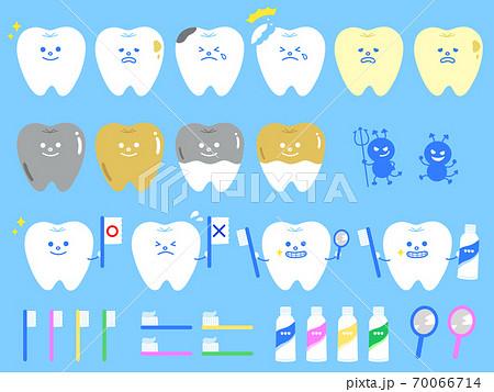 かわいい歯のセット シンプル 虫歯 歯医者 70066714