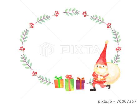 水彩で描いたクリスマスのフレーム 70067357