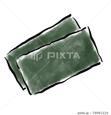 海苔 水彩 手描き 筆 素材 70081224