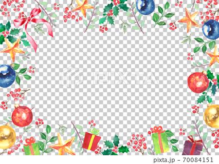 水彩で描いたクリスマスのフレーム 70084151