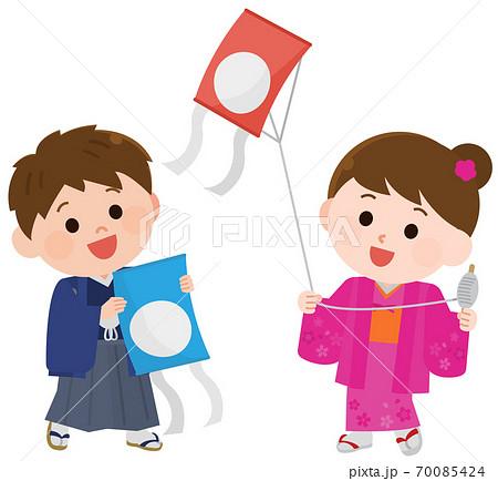 お正月 着物で凧揚げをする子供達 イラスト 70085424