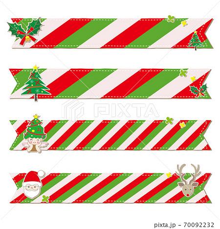 クリスマス素材とチェック柄のリボン セット 70092232