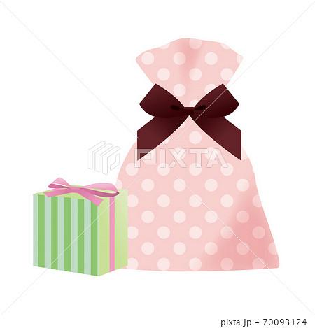 プレゼントのセット(ドット柄の袋とストライプ柄の箱) 70093124