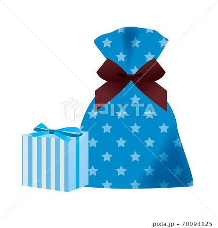 プレゼントのセット(星柄の袋とストライプ柄の箱) 70093125
