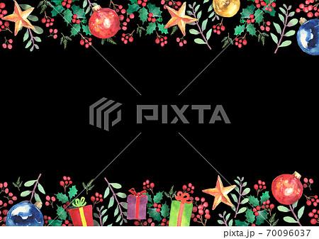 水彩で描いたクリスマスのフレーム 70096037
