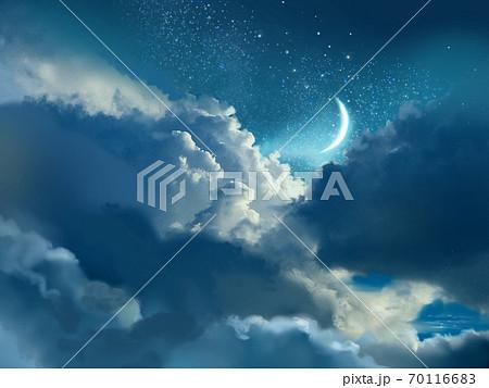雲と宇宙と月の夜空の背景 70116683