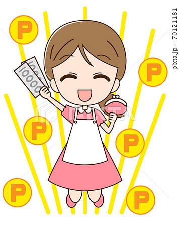 財布とお札を持ってジャンプする主婦とポイント 70121181