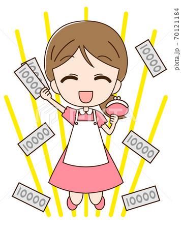 財布とお札を持ってジャンプする主婦1 70121184