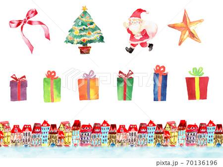 水彩で描いたクリスマスいろいろセット 70136196