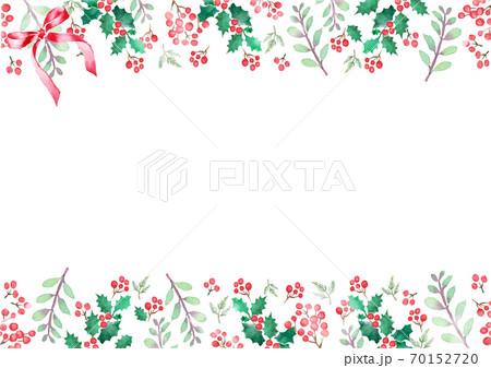 水彩で描いたクリスマスのフレーム 70152720