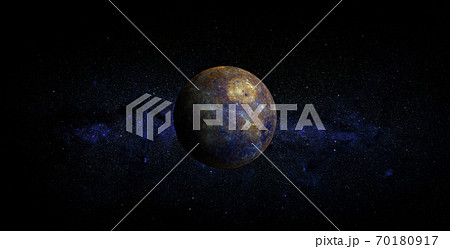 Mercury on space background. Elements of this image furnished by NASA. 70180917