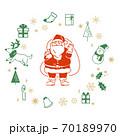 サンタクロースとクリスマス素材のイラストセット 70189970