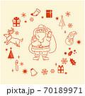 サンタクロースとクリスマス素材のイラストセット(線画) 70189971
