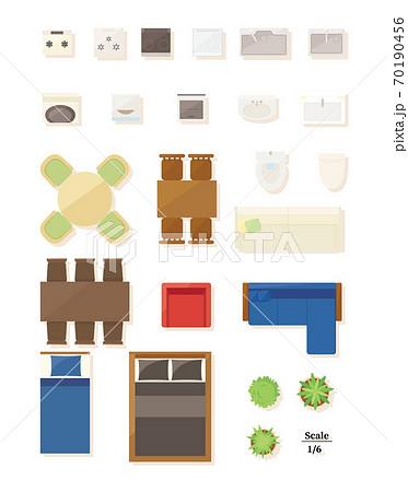 家具・家電 平面図セット 70190456