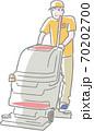 掃除機を使う清掃員 70202700