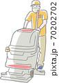 マスクをして掃除機を使う清掃員 70202702