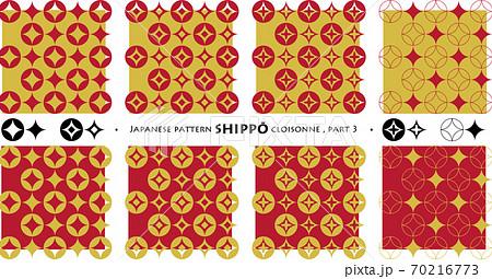 和柄「七宝」part3_赤と金_シームレスパターン 70216773