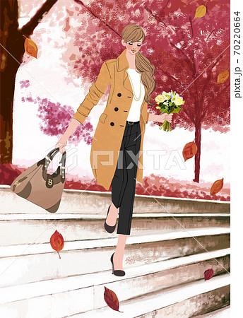 落ち葉の舞う公園の階段を、花束を持って歩く女性のイラスト 70220664