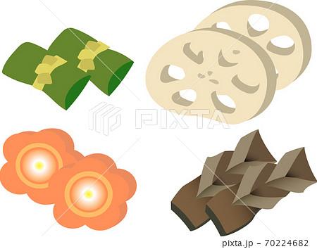 おせち料理の昆布巻き、レンコン、ニンジン、手綱こんにゃく 70224682