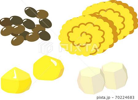 おせち料理の黒豆、伊達巻、栗、里芋 70224683