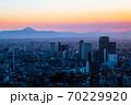 六本木ヒルズから眺める東京の街並み 夕暮れ 渋谷・富士山方面 70229920