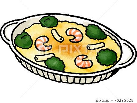【手描き食べ物イラスト】エビマカロニグラタンのイラスト 70235629