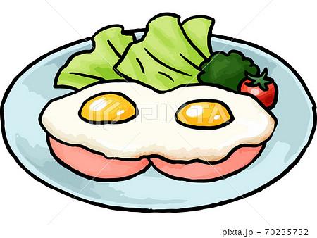 【手描き食べ物イラスト】ハムエッグのイラスト 70235732