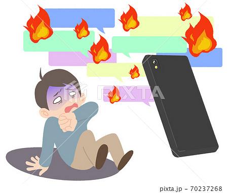 ネット炎上に怯えて青ざめる男性 - イメージイラスト 70237268