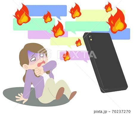 ネット炎上に怯えて青ざめる女性 - イメージイラスト 70237270