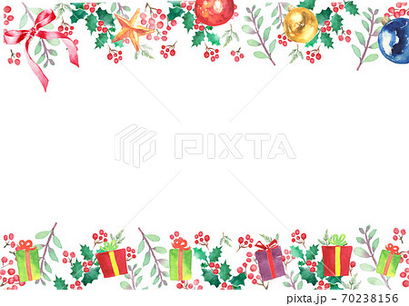 水彩で描いたクリスマスのフレーム 70238156