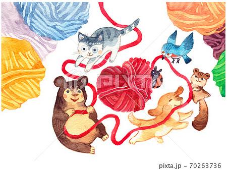 毛糸玉と動物たち 70263736