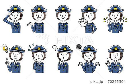 イラスト素材:若い女性警察官、婦警、セット 70265504