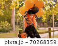 A child in a carnival costume on Halloween with large colored balloons. Little girl in the autumn 70268359
