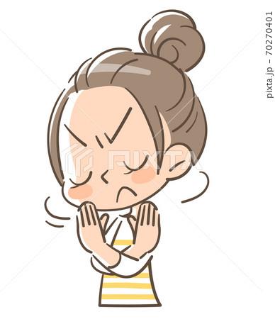 バッテンを手で作って拒否の態度を取る女の子 70270401