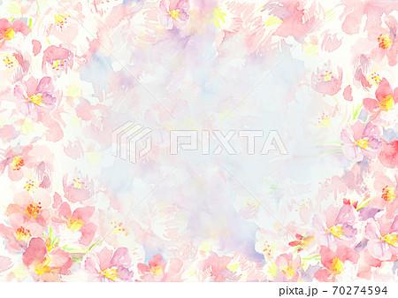 春 水彩で描いた桜の花の背景イラスト 70274594