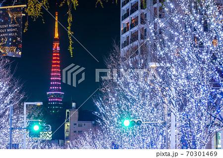 「東京六本木」美しいけやき坂と東京タワーのイルミネーション インフィニティ・ダイヤモンドヴェール 70301469