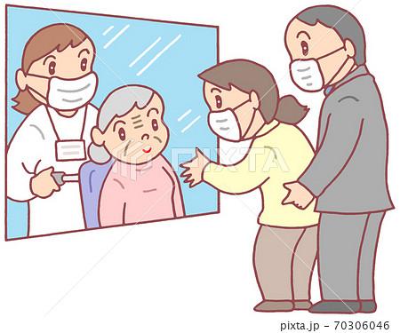 高齢者施設のガラス越し面会(お婆さん) 70306046