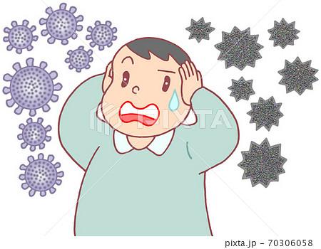 コロナ・インフルエンザの同時流行(男性) 70306058