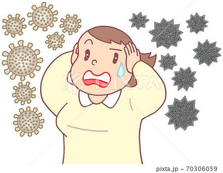 コロナ・インフルエンザの同時流行(女性) 70306059