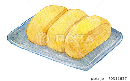 水彩イラスト 食品 卵焼き だし巻き玉子 70311637