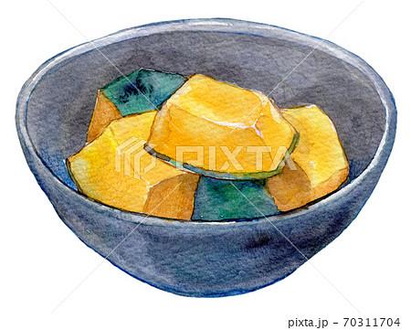 水彩イラスト 食品 家庭料理 カボチャの煮付け 70311704