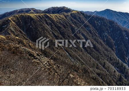 蛭ヶ岳から見る丹沢主脈縦走路と丹沢山・塔ノ岳 70318933