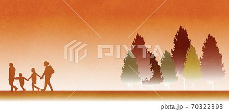 家族の秋の後楽をイメージしたイラスト素材 70322393