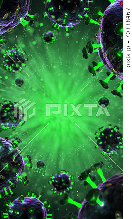 3d render of pathogenic virus organism or bacteria infecting and causing disease. Close up from microscope of coronavirus. 70338467