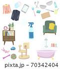 家具やキッチン用品や洋服やおもちゃを消毒除菌するイラスト 70342404