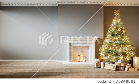 Modern classic gray empty interior with fireplace, christmas tree and gifts. 3d render illustration mock up 70348683