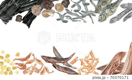 和風出汁の材料フレーム 水彩風手描きイラスト 70370171