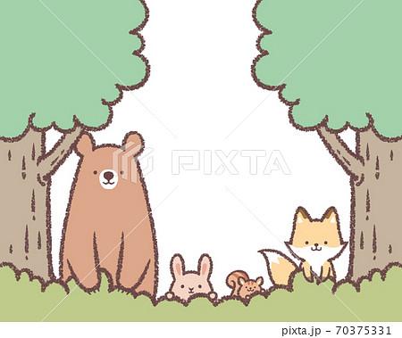 木と草と動物のフレーム 70375331