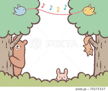 木と草と動物と小鳥のフレーム2 70375337