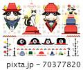 色々な帽子のイラスト「帽子牛と猫と鳥」HATS 70377820